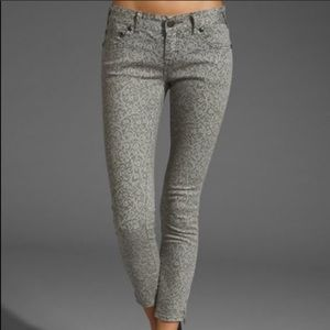 Free People Gray Lace Skinny Ankle Zip Ankle Pants